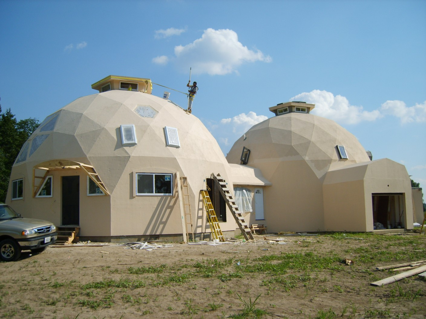 Geodesic Dome Home Domes Under Construction Photos Built With Econodome Kits